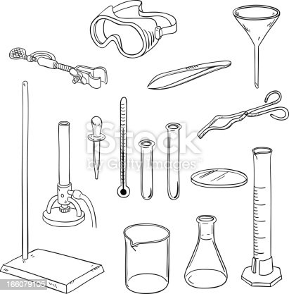 Laboratory equipment in line art style, black and white
