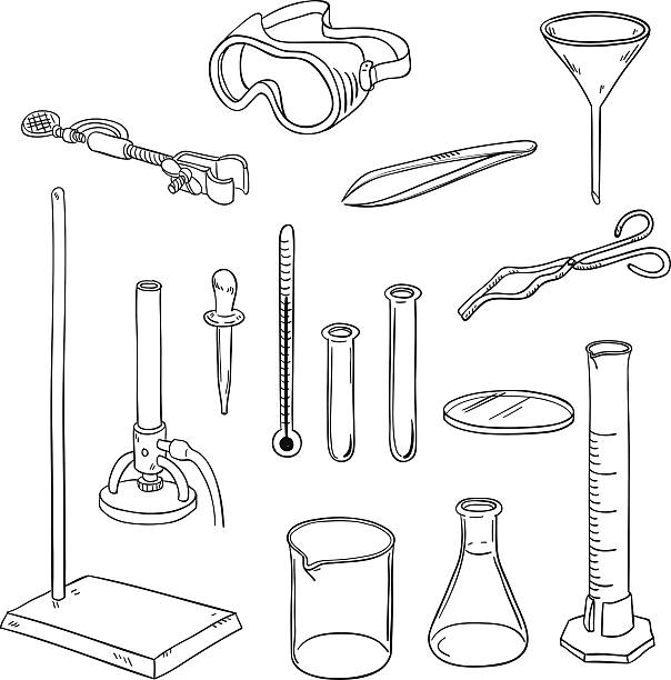 Laboratory equipment in black and white Laboratory equipment in line art style, black and white laboratory flask stock illustrations