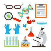 Laboratory Equipment Set Vector. Science Accessories. Glasses, Dna, Structure, Molecule, Notepad, Petri, Bowl, Gloves, Bulb, Test Tube, Microscope. Isolated Flat Cartoon Illustration