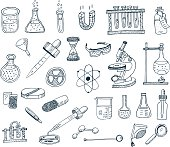 Vector illustration of chemical topics. All objects are grouped. Laboratory equipment for chemistry.