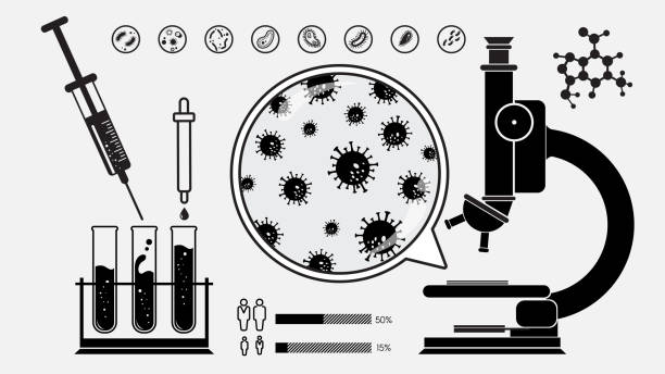 Laboratory equipments and infection testing with virus silhouettes vector art illustration