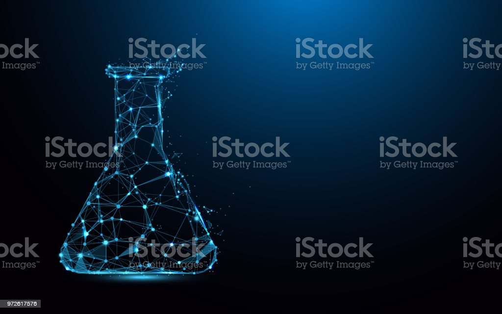 Laboratory Flask Form Lines Triangles And Particle Style