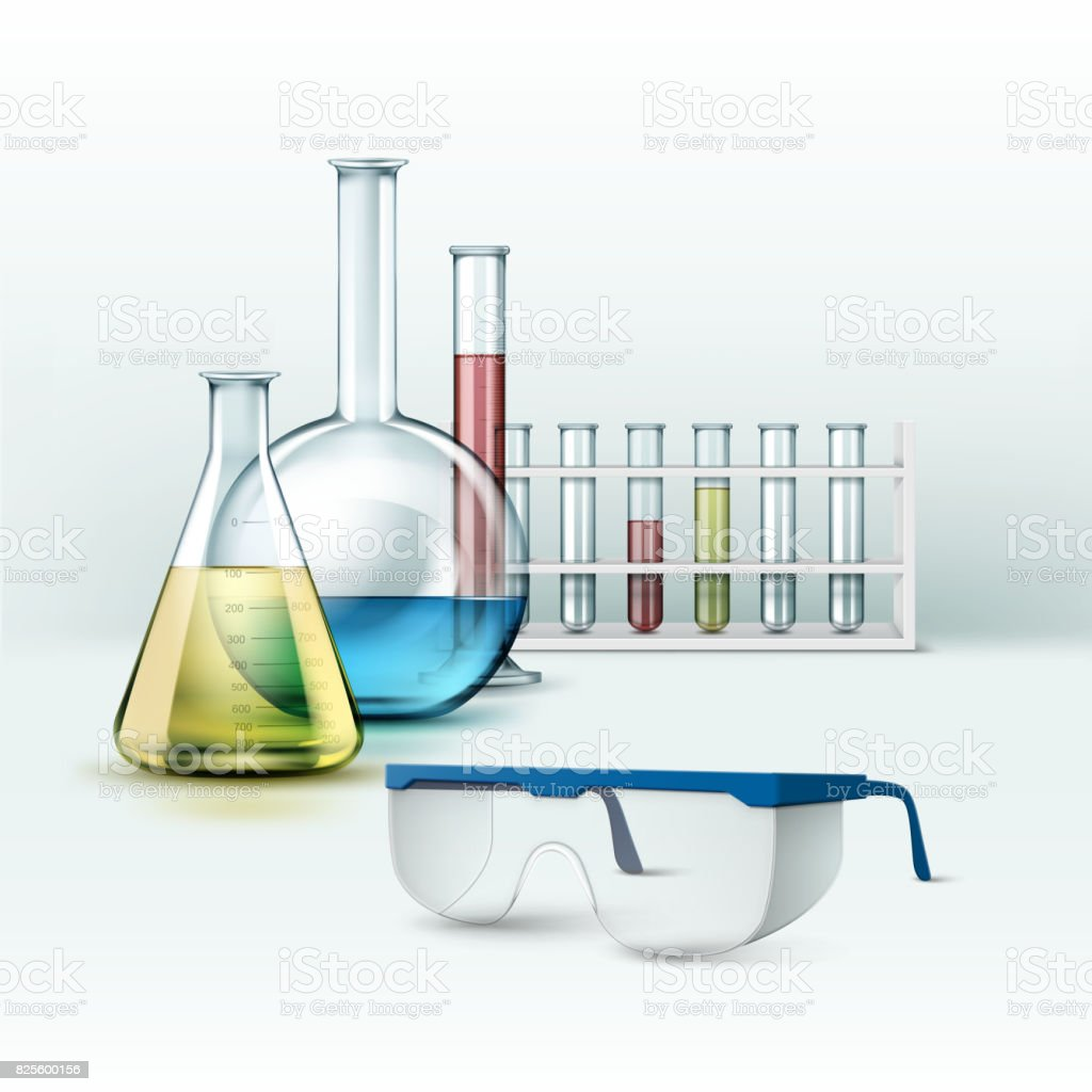 Laboratory flasks with glasses vector art illustration
