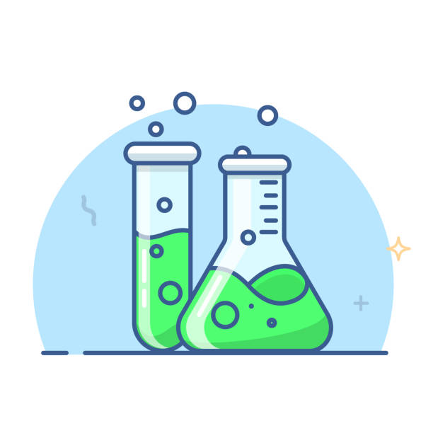 Laboratory glass flasks and test tube, Erlenmeyer flask vector Laboratory glass flasks and test tube, Erlenmeyer flask vector. eps 10 laboratory flask stock illustrations