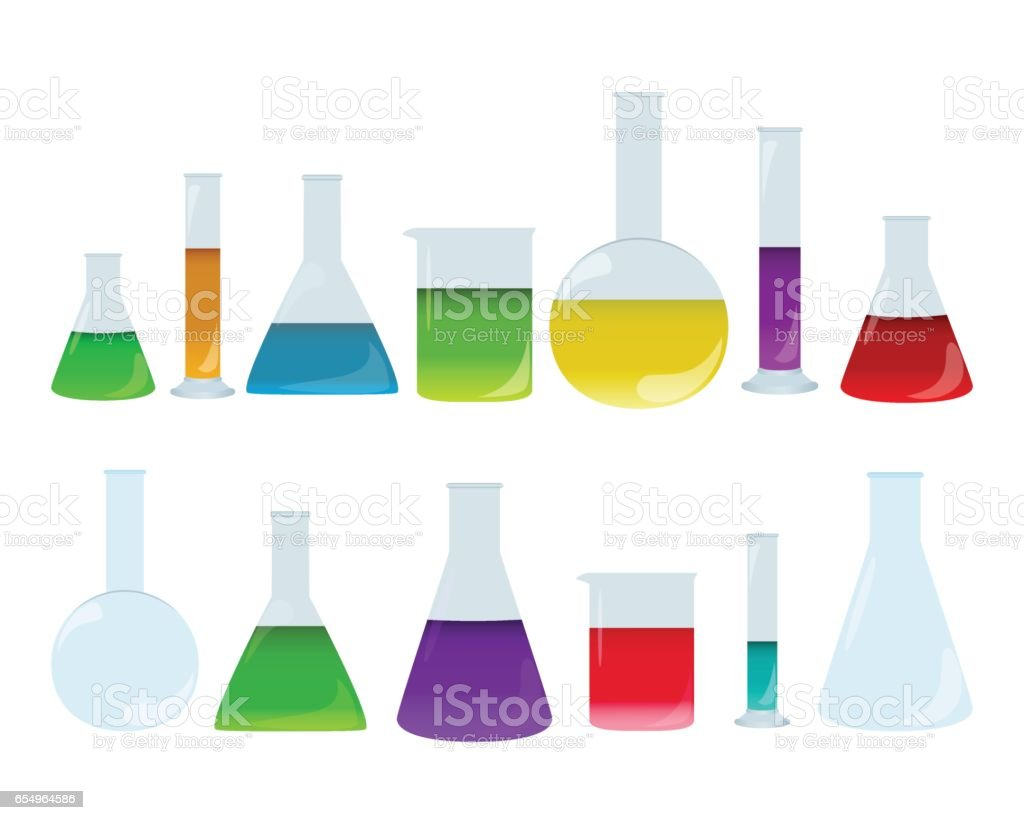 Laboratory glassware set with colored liquids. Group of chemistry accessories. Medical test dishes. vector art illustration