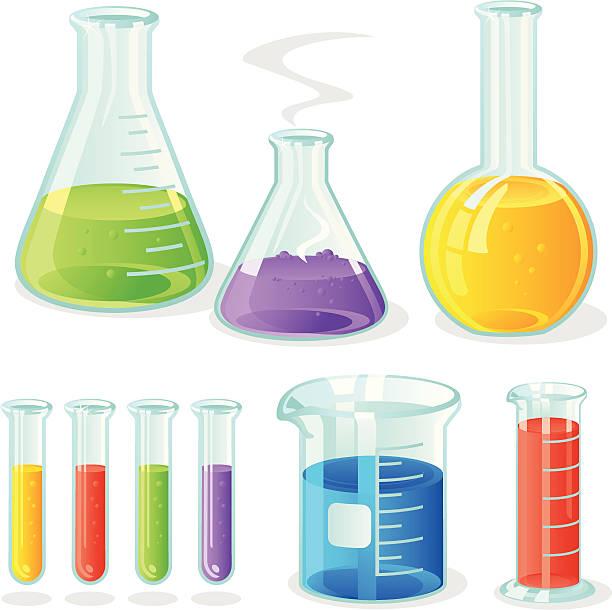 Laboratory Glassware Vector laboratory flasks/bottle, measuring cylinder, glass beaker and test tubes. beaker stock illustrations