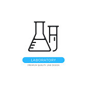 Laboratory icon. Chemistry, flask, beaker, pharmacy, science concepts. Premium quality graphic design element. Modern sign, linear pictogram, outline symbol, simple vector thin line icon