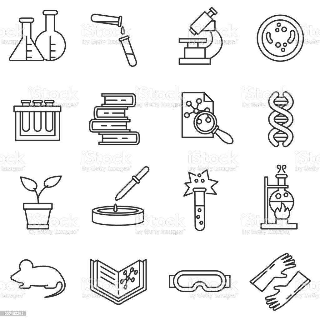 Conjunto de ícones de laboratório. - ilustração de arte em vetor