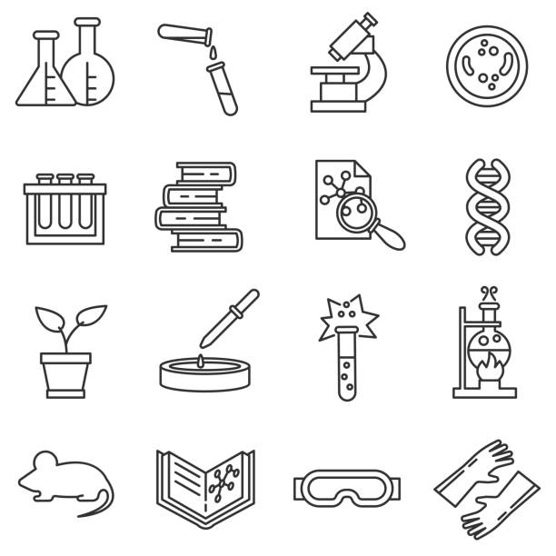 Laboratory icons set. vector art illustration
