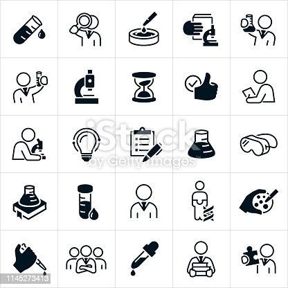 A set of laboratory icons. The icons include scientists, chemists, laboratory, experiments, testing, beakers, test tubes, petri dishes, microscopes, data, checklist, lab goggles, lab samples, eye dropper, genes, chromosomes, technicians, pathologist, cytotechnologist, medical technologists, histotechnologist, and other professionals.