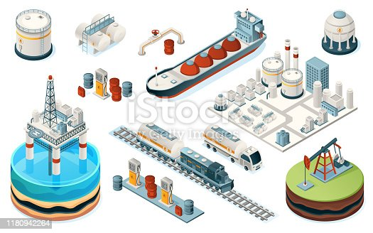 Set of isolated oil industry equipment. Isometric icons for fuel, gasoline and petrol production. Plant and pipe, sea platform and tanker, train and truck, pump, gas station, tank. Industrial factory