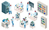Set of isolated laboratory with scientist, isometric chemical or biological lab, medical or clinic pharmaceutical research, blood test laboratory. Science and doctor,scientific and biotech, experiment