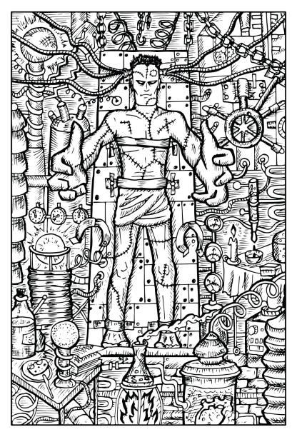 labor-monster oder frankenstein - frankenstein stock-grafiken, -clipart, -cartoons und -symbole