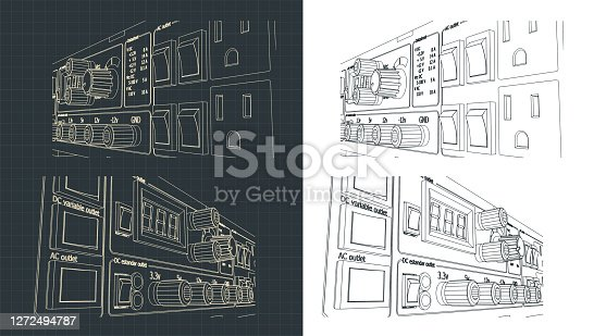 Stylized vector illustration of laboratory power supply drawings