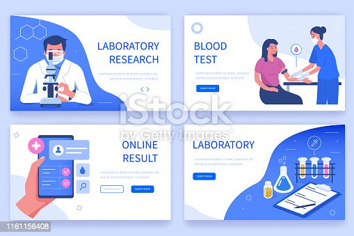 Laboratory research concept templates for horizontal web banners . Can use for backgrounds, infographics, hero images. Flat modern vector illustration.