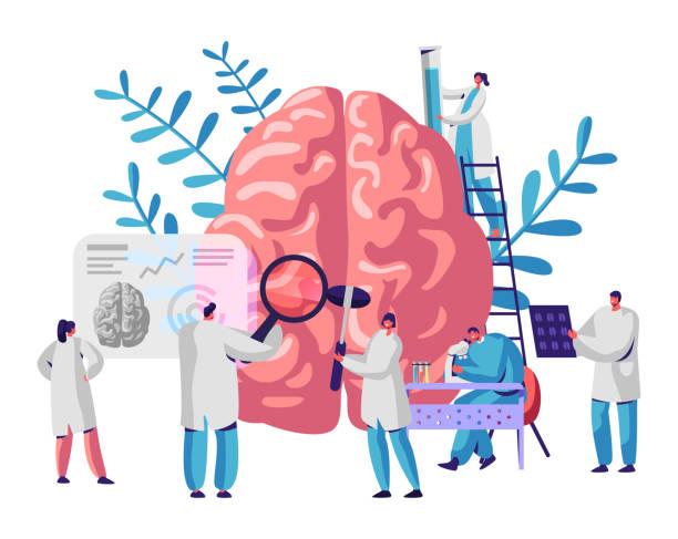 bildbanksillustrationer, clip art samt tecknat material och ikoner med laboratorie forskare grupp studera mänskliga hjärnan och psykologi. medicinskt forsknings mikroskop. chef tomografi. kemiska experiment. diagnostik utveckling halvklotet. platt tecknad vektor illustration - brain magnifying