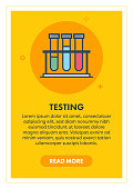Laboratory testing web banner illustration with icon. Modern flat concept for website or infographics.