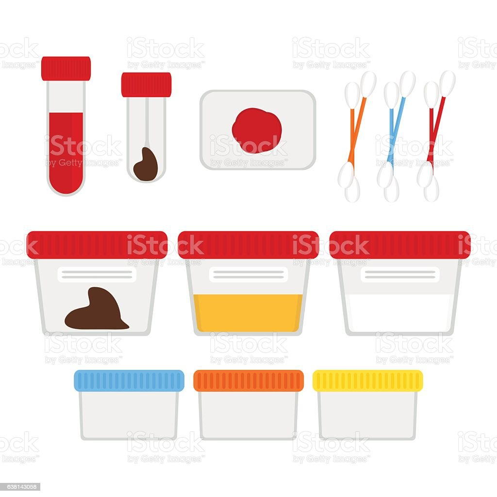 Laboratory tests and accessories set. Vector illustration, flat vector art illustration