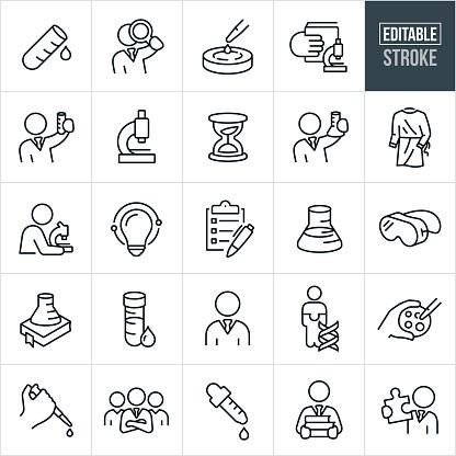 Laboratory Thin Line Icons - Editable Stroke