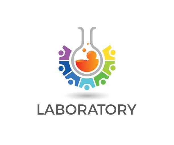 ilustraciones, imágenes clip art, dibujos animados e iconos de stock de icono de vector de laboratorio - logotipos de investigación