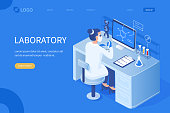 Woman scientist at work. Can use for web banner, infographics, hero images. Flat isometric vector illustration isolated on white background.