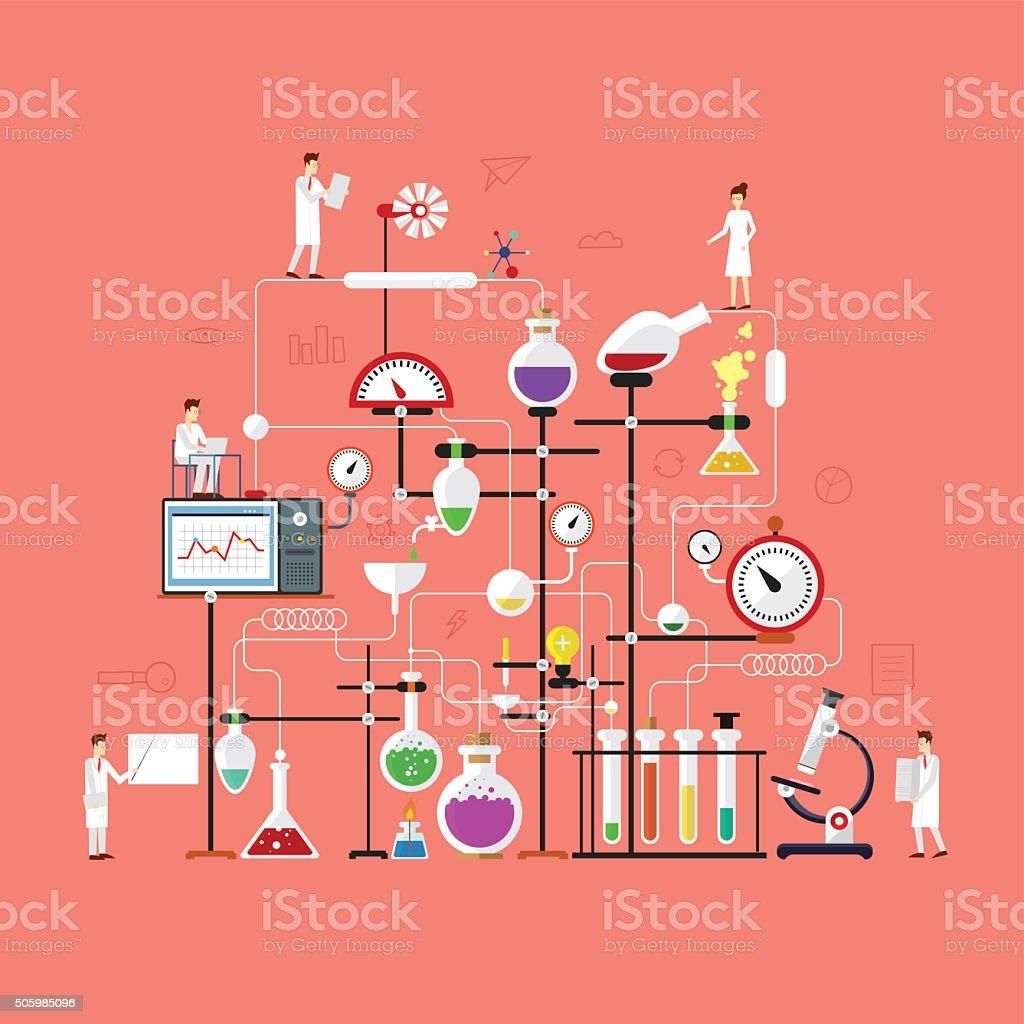 Laboratory Arbeitsbereich und Wissenschaft Geräte-Konzept. – Vektorgrafik