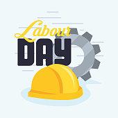 hardhat gear labour day vector illustration design