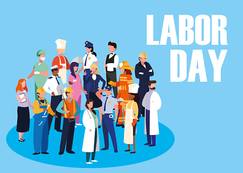 labour day celebration with group professionals