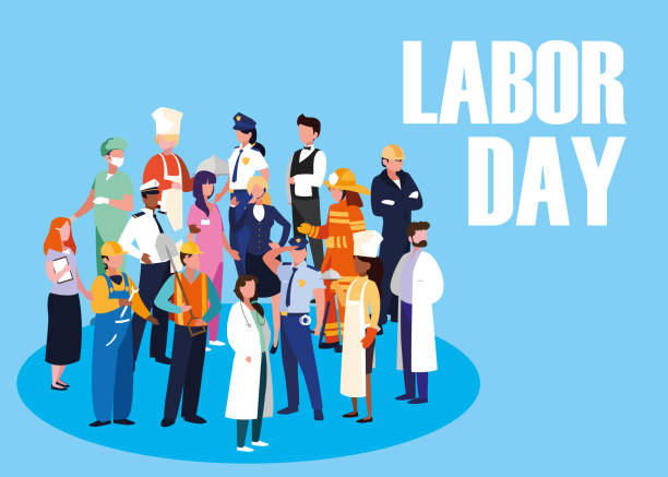 labour day celebration with group professionals labour day celebration with group professionals vector illustration design labor day stock illustrations