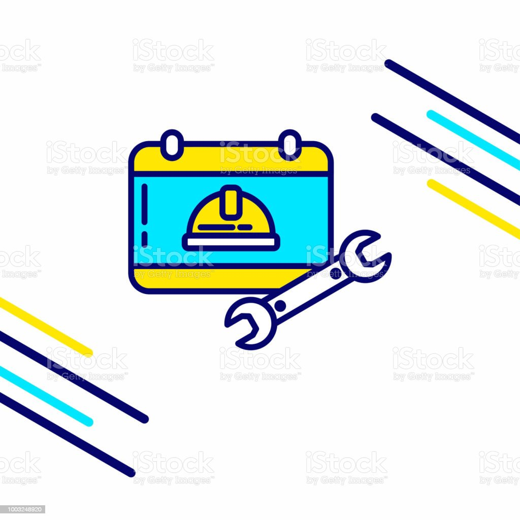 Labour day icon with light background with yellow and blue theme icon vector art illustration