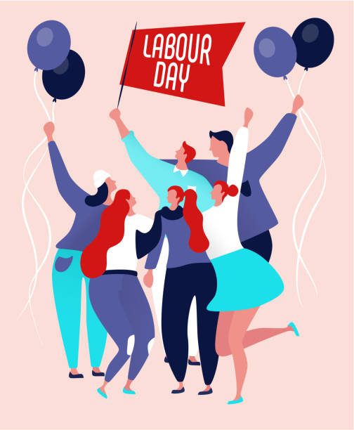 labour day poster - may day stock illustrations, clip art, cartoons, & icons