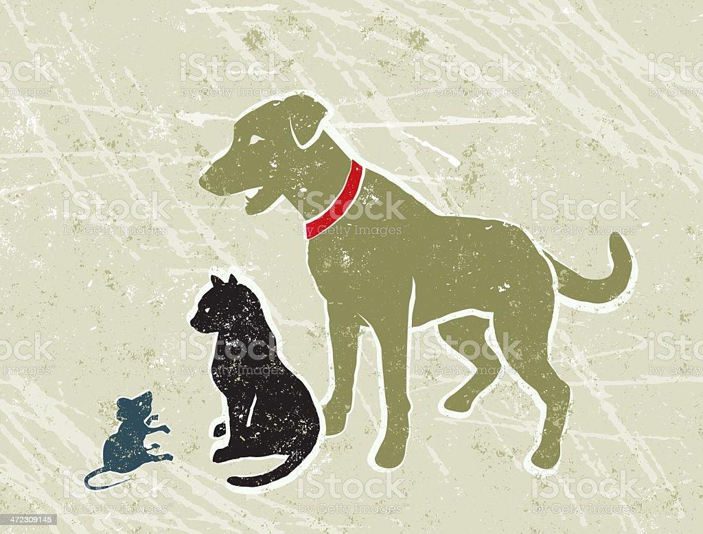 labrador hund schwarze katze und kleine maus stock vektor  hund katze und maus in szene gesetzt #4