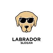 Labrador dog head simple brown logo icon design template