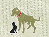What are Friends for! A stylized vector cartoon a large dog protecting and sheltering a small dog, reminiscent of an old screen print poster and suggesting pets, friends, contrasts, protection, or vulnerability. Big Dog, little dog, paper texture and background are on different layers for easy editing. Please note: clipping paths have been used,  an eps version is included without the path.