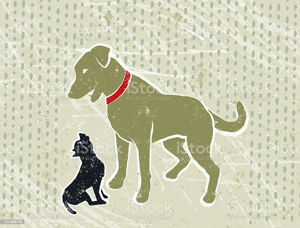 Labrador Dog Sheltering a Little Chihuahua from the Rain vector art illustration