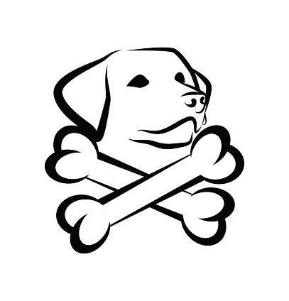 Labrador dog with crested bones - Black Badge Emblem for Tattoo