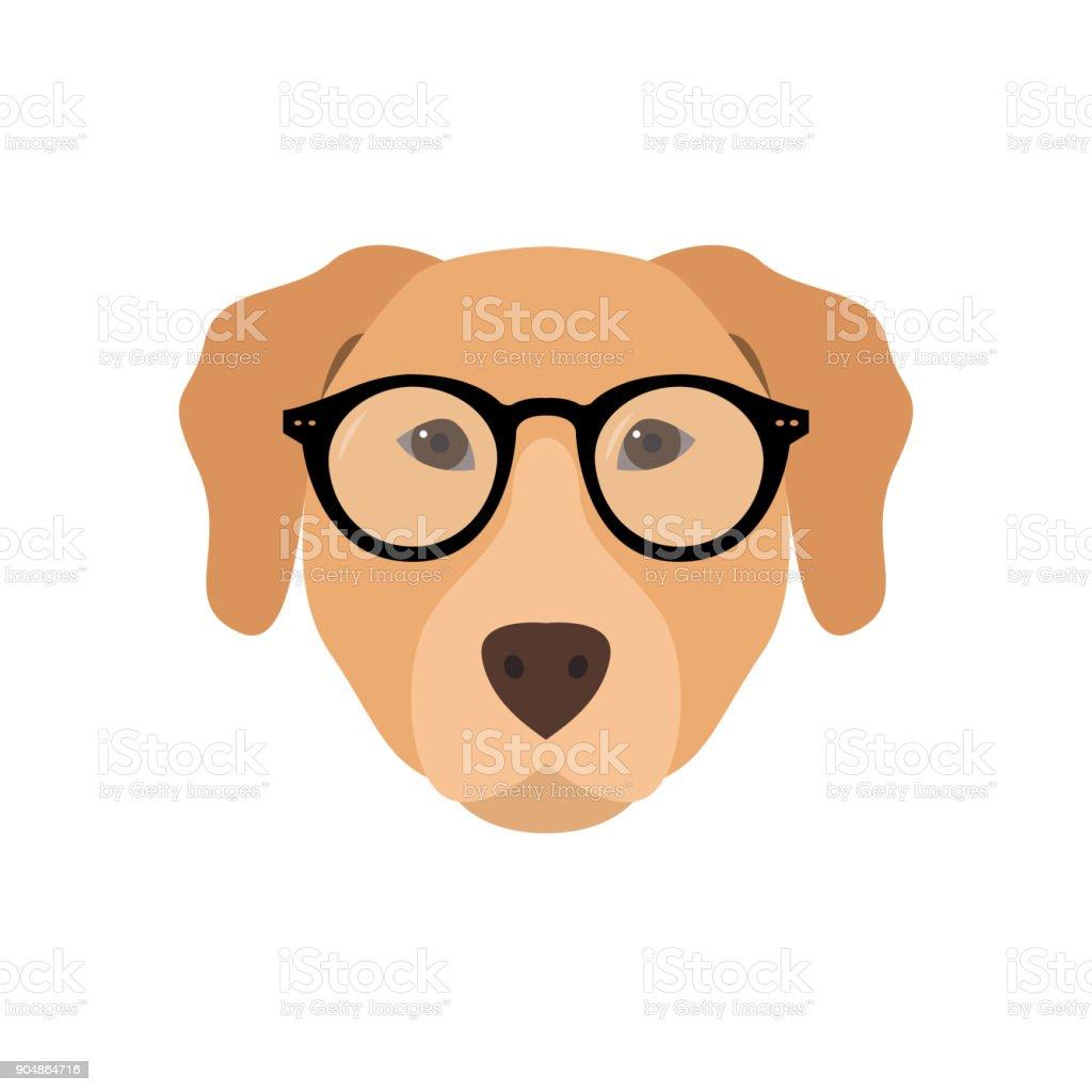 Labrador Gözlük Sevimli Köpek Vektör çizim Stok Vektör Sanatı