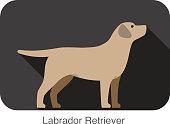 Labrador Retriever dog body flat icon design
