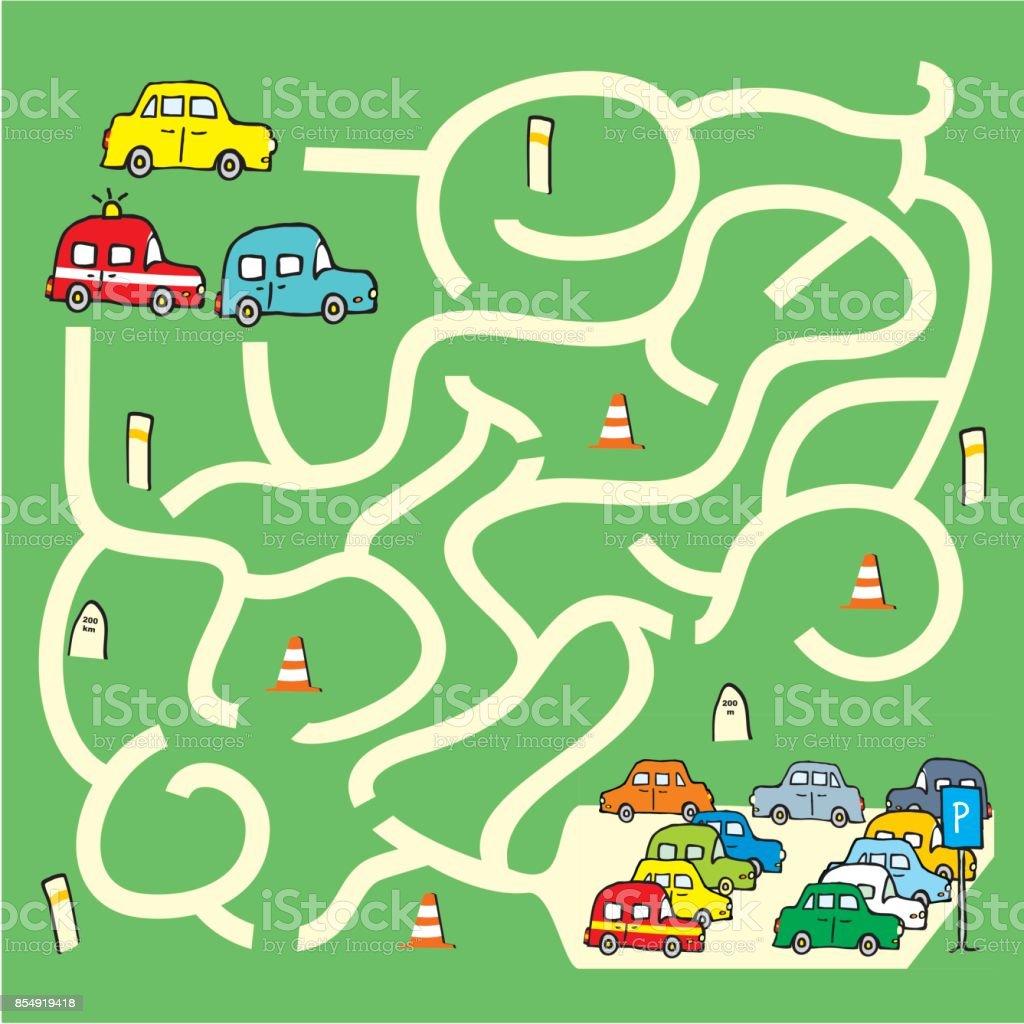 Labyrint Mit Autos Stock Vektor Art Und Mehr Bilder Von Aktivitaten