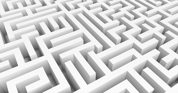 Labyrinth 3D Vector. Maze game. Classic box labyrinth in white color and high walls. Gray maze for Your business project. Vector Illustration