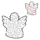 Labyrinth angel. Game for kids. Puzzle for children. Cartoon style. Maze conundrum. Black white vector illustration. With the answer.