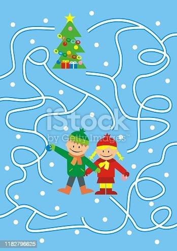 istock Labyrinth, board game, kids and Christmas tree, eps. 1182796625