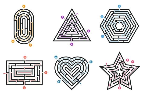 미 궁 수수께끼. 검색 방법, 여러 가지 방법 방향 미로와 미로의 아이 게임 고립 된 벡터 세트 - 미로찾기 stock illustrations