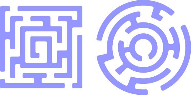 stockillustraties, clipart, cartoons en iconen met labyrint ontwerp - complex