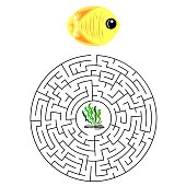 labyrinth game for children with yellow fish and algae