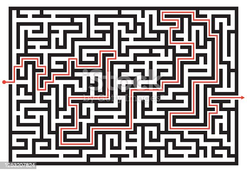 istock Labyrinth game. Maze or puzzle design. Find the way and right solution for exit. Vector illustration. 1253207824
