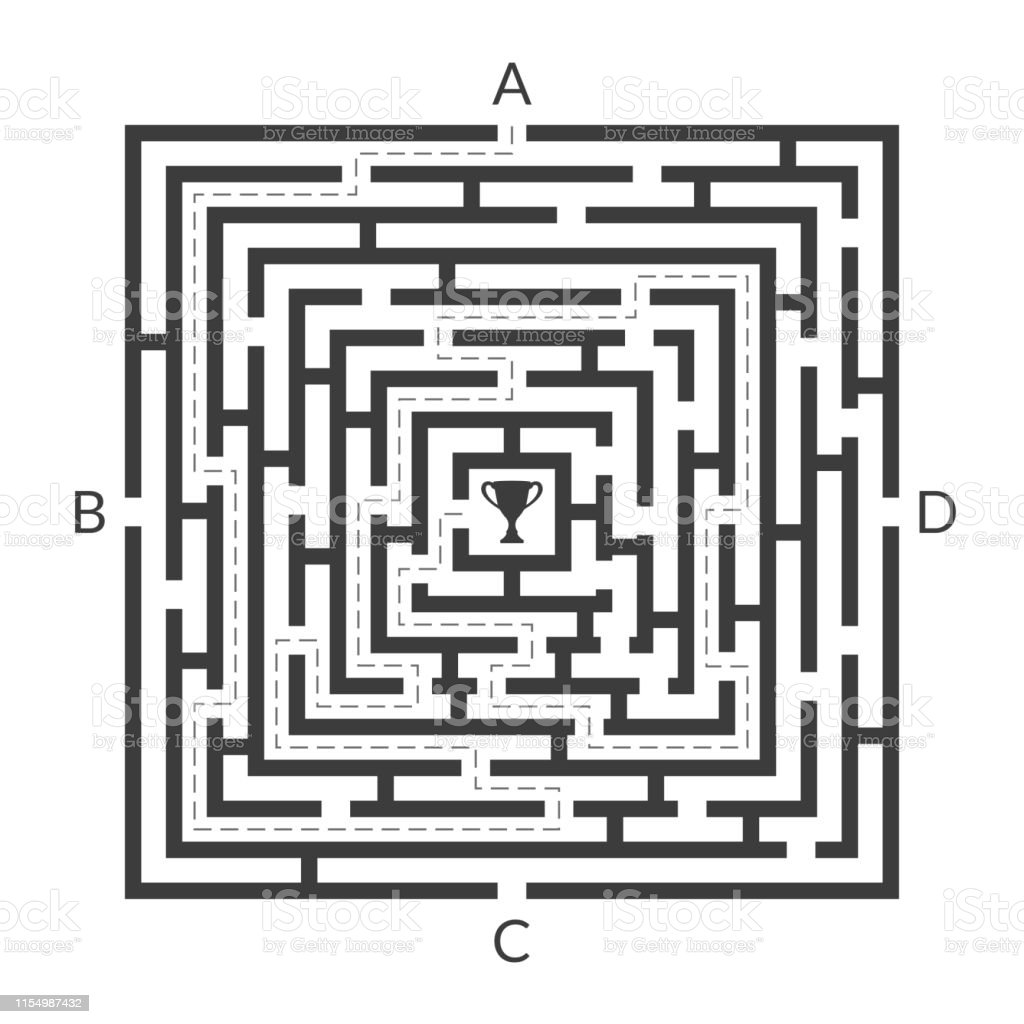 Labyrinth Game Square Maze Find The Way Game Exit And Entrance