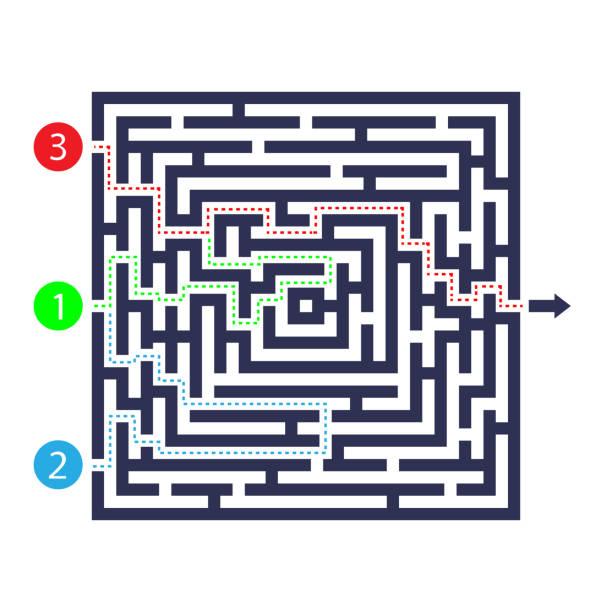 labyrinth-spiel. drei eingang, ein ausgang und einen richtigen weg zu gehen. aber viele wege führen zum deadlock. vektor-illustration. - labyrinthgarten stock-grafiken, -clipart, -cartoons und -symbole