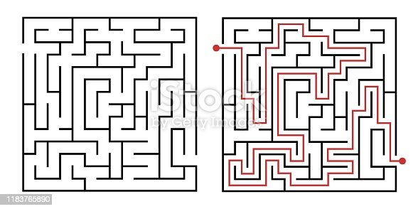 istock Labyrinth game way. Square maze, simple logic game with labyrinths way vector illustration 1183765890