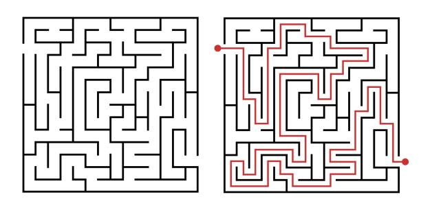 Labyrinth game way. Square maze, simple logic game with labyrinths way vector illustration vector art illustration